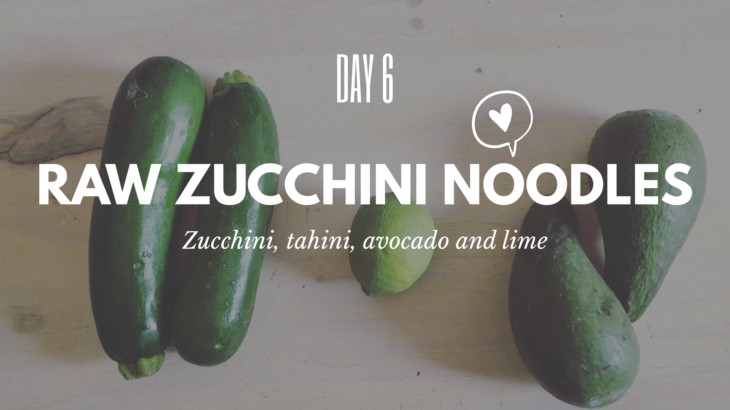 Zucchini noodles with lime and avo