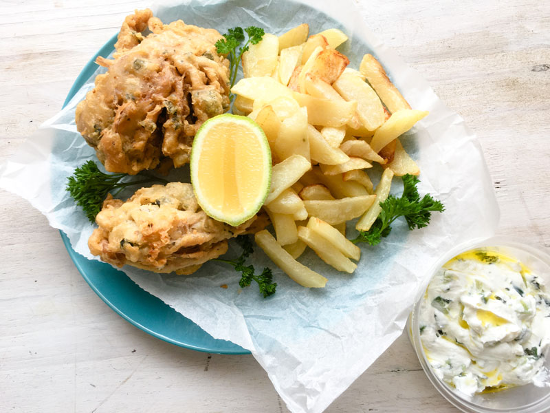 vegan fish made with banana blossoms fish and chips