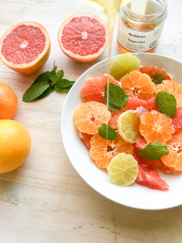 winter citrus salad with honey and mint