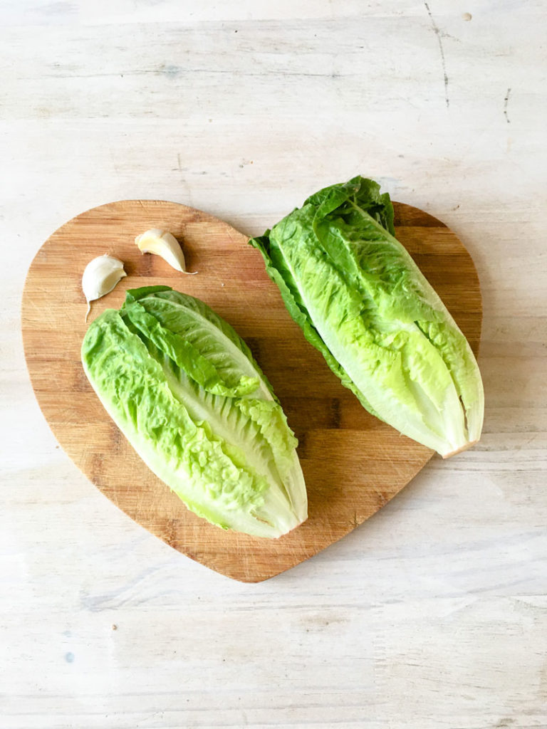 cos lettuce and garlic