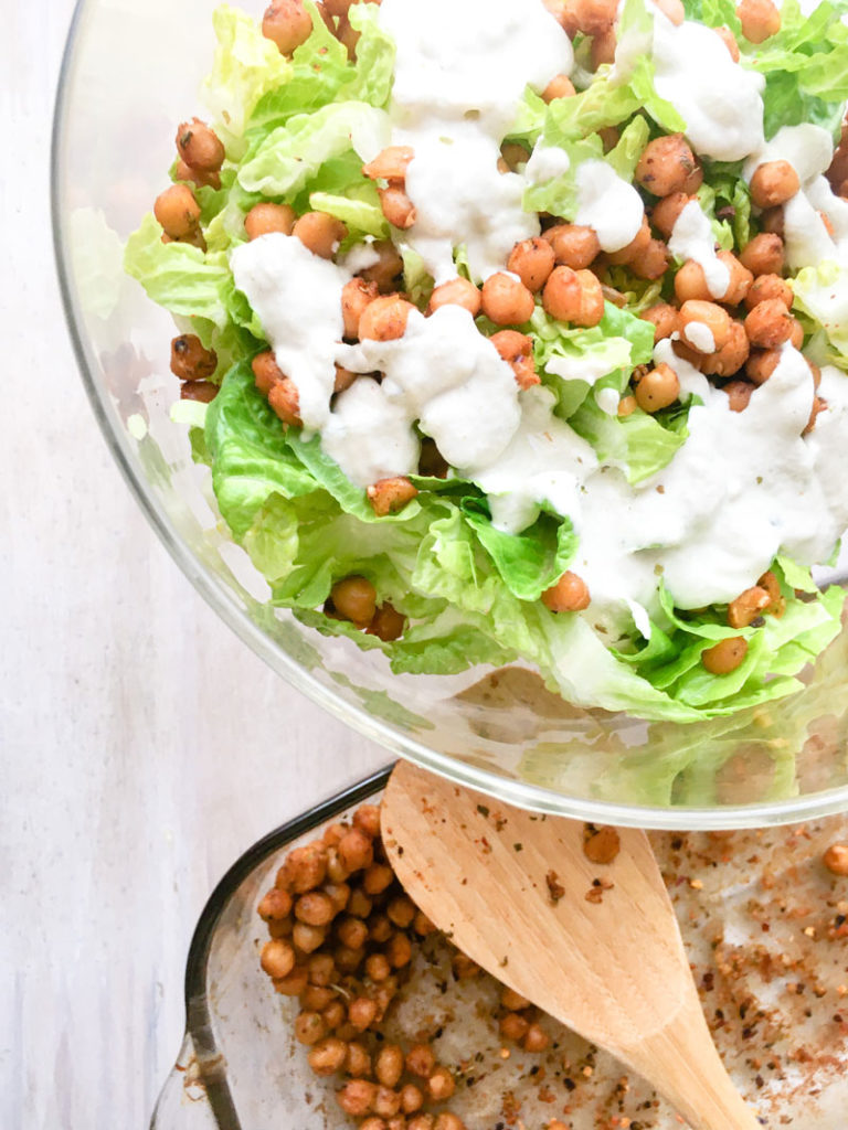 creamy simple vegan Caesar salad with roasted chickpeas