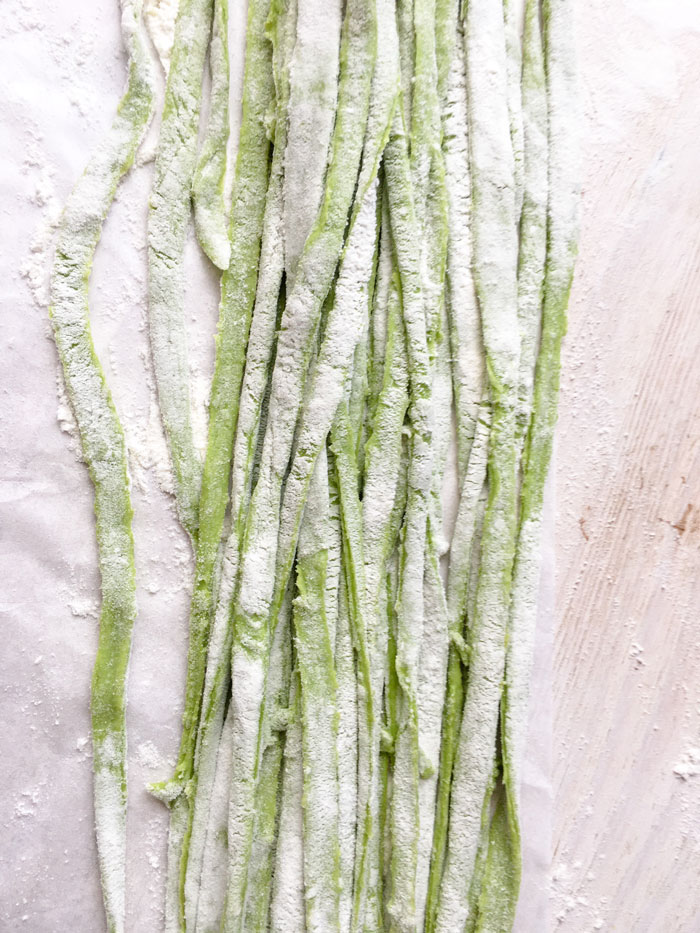 vegan homemade spinach pasta strips